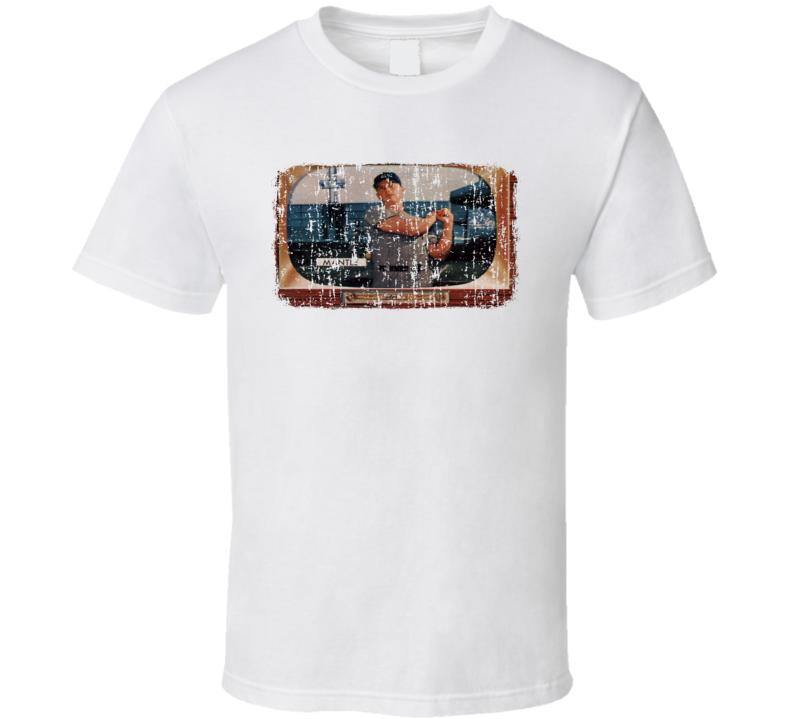 1955 Bowman Mantle Vintage Baseball Trading Card Worn Look T Shirt