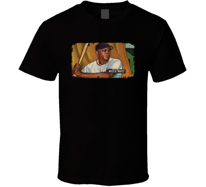 1951 Bowman Mays Vintage Baseball Trading Card Worn Look Cool T Shirt