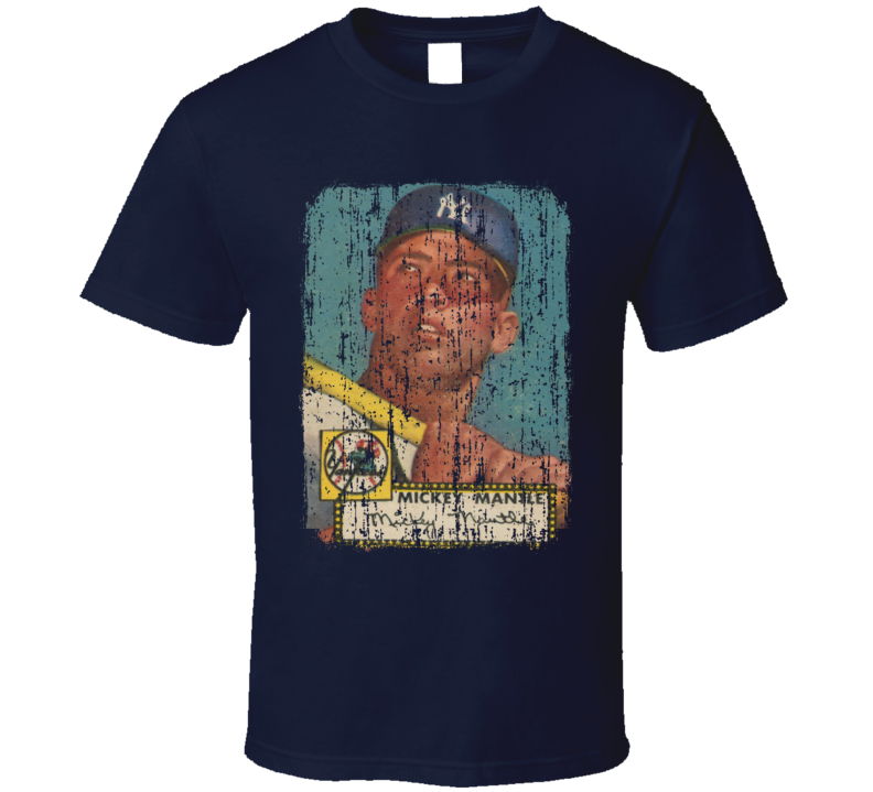 1952 Mickey Mantle Vintage Baseball Trading Card Worn Look T Shirt