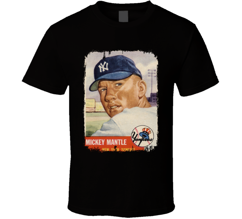 1953 Mickey Mantle Vintage Baseball Trading Card Worn Look T Shirt