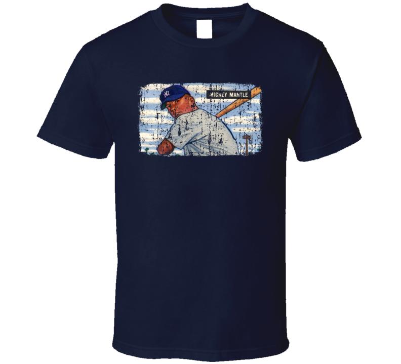 1951 Bowman Mantle Vintage Baseball Trading Card Worn Look T Shirt