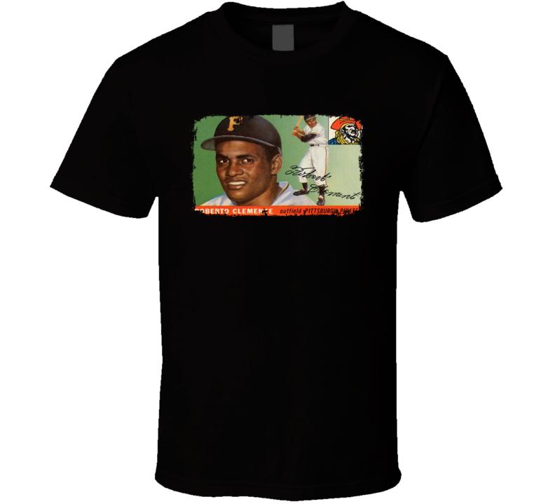 1955 Roberto Clemente Vintage Baseball Trading Card Worn Look T Shirt