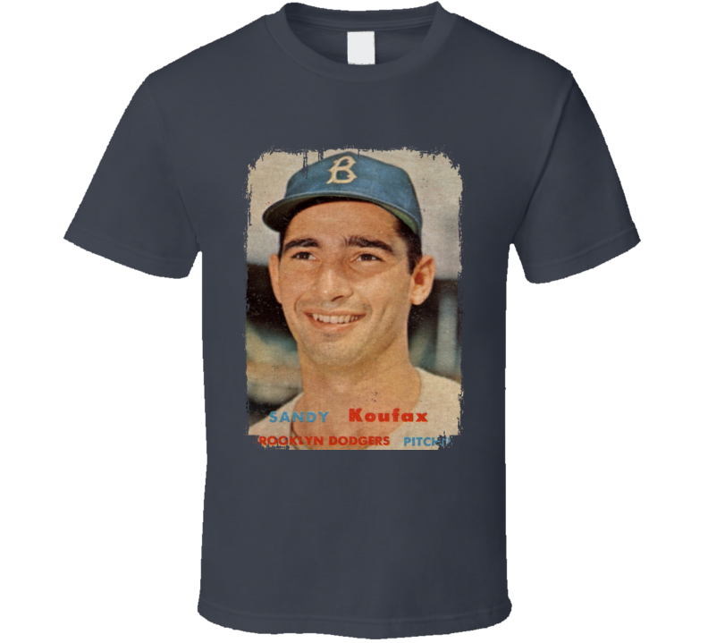 1957 Sandy Koufax Vintage Baseball Trading Card Worn Look Cool T Shirt