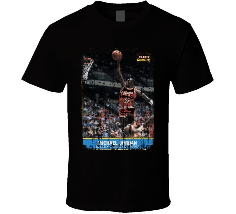 1986 Michael Jordan Vintage Basketball Trading Card Worn Look T Shirt