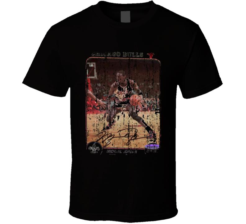 1985 Michael Jordan Vintage Basketball Trading Card Worn Look T Shirt