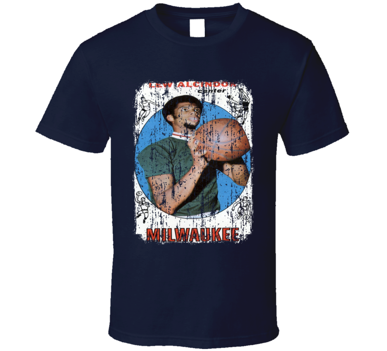 1969 Lew Alcindor Vintage Basketball Trading Card Worn Look T Shirt