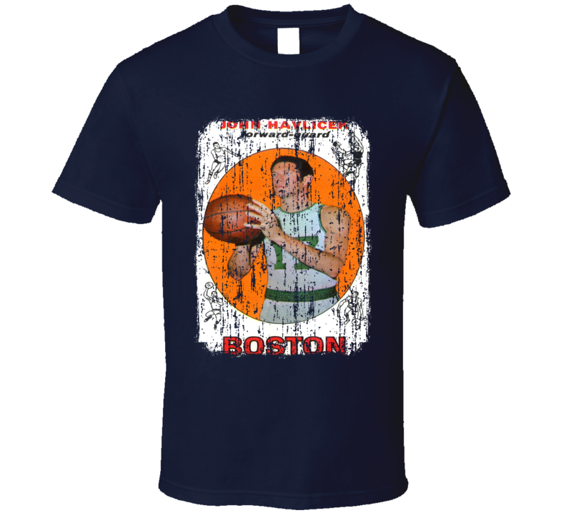 1969 John Havlicek Vintage Basketball Trading Card Worn Look T Shirt