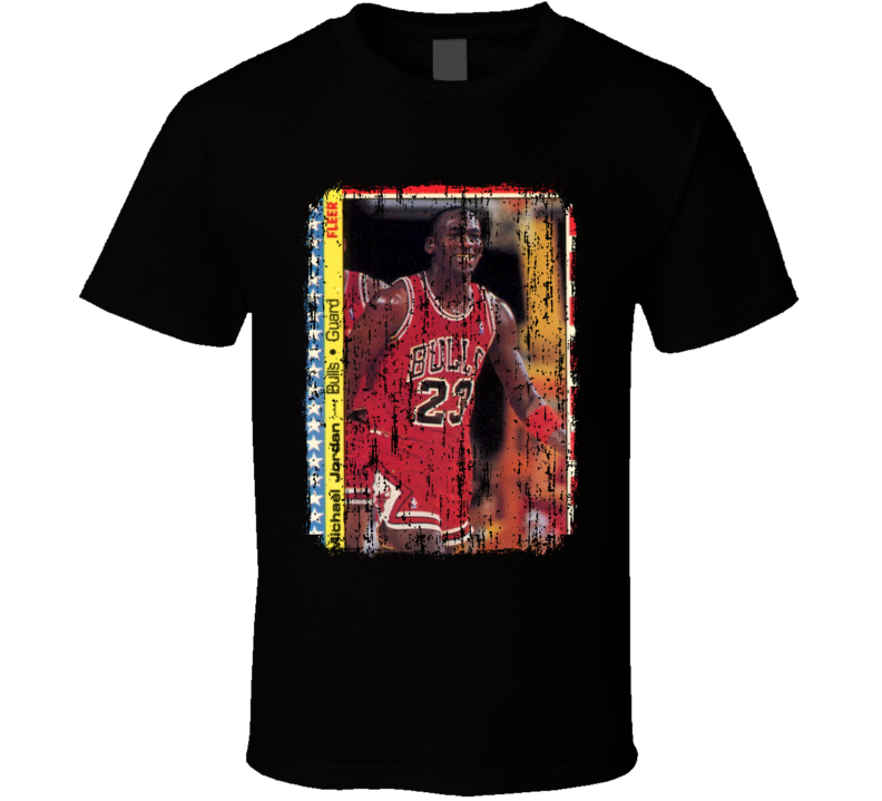 1987 Michael Jordan Vintage Basketball Trading Card Worn Look T Shirt