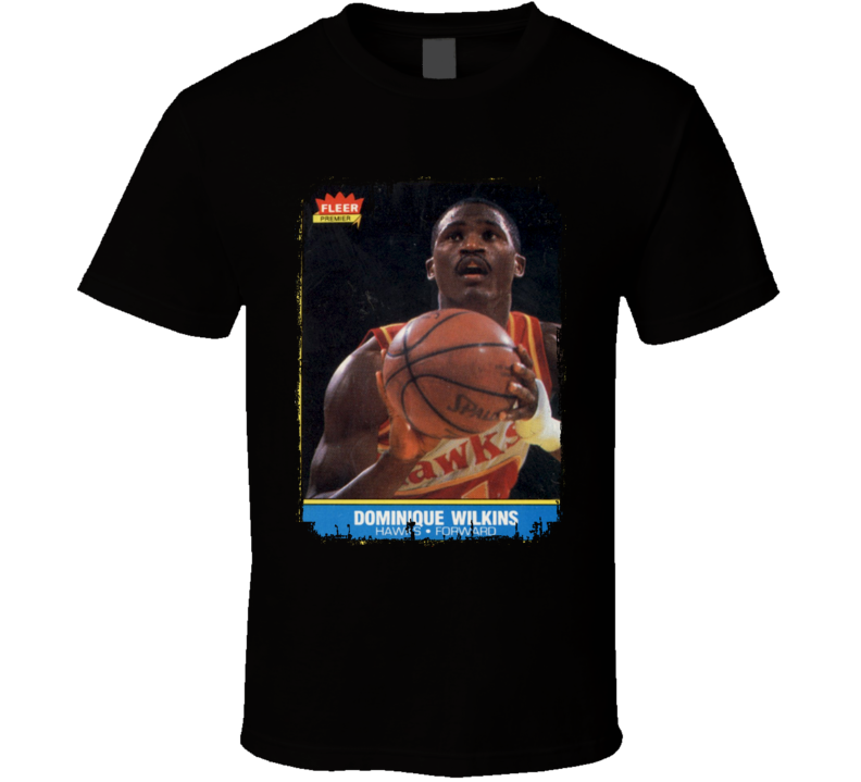 1986 Dominique Wilkins Vintage Basketball Card Worn Look Cool T Shirt