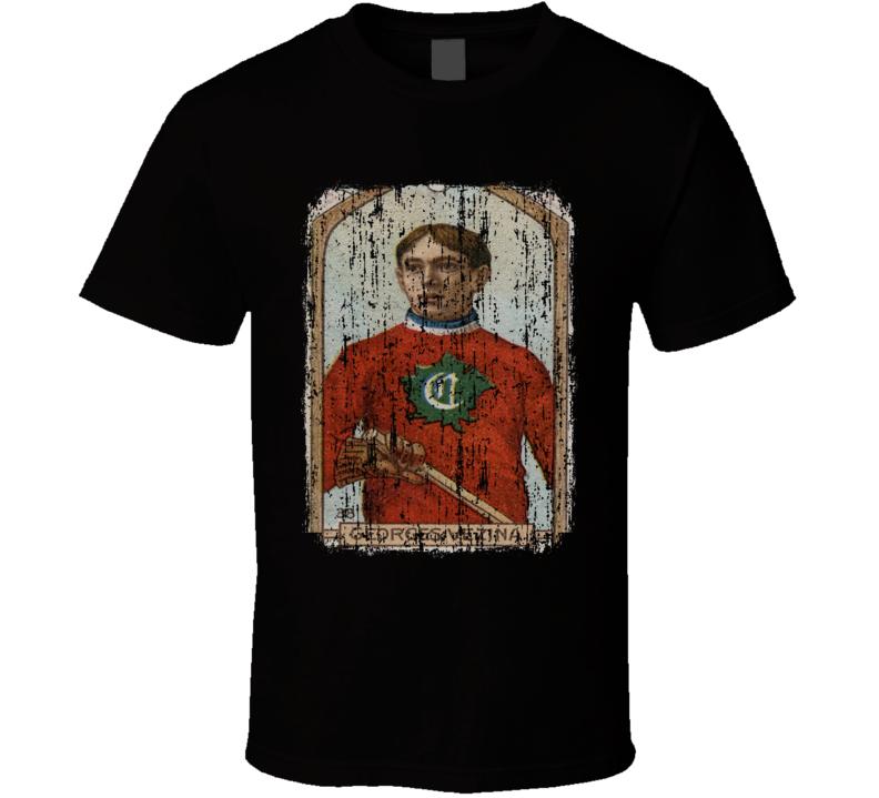 1911 Georges Vezina Vintage Hockey Trading Card Worn Look Cool T Shirt