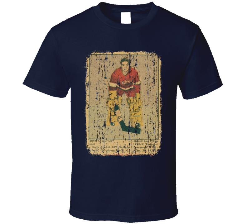 1951 Parkhurst Sawchuk Vintage Hockey Card Worn Look T Shirt