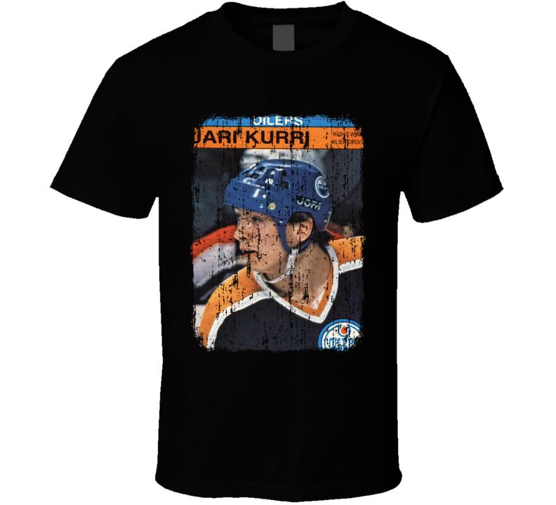 1981 Jari Kurri Vintage Hockey Trading Card Worn Look Cool T Shirt