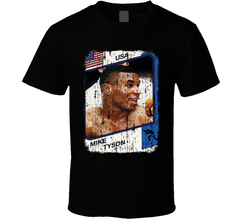 1986 Mike Tyson Vintage Boxing Trading Card Worn Look Cool T Shirt