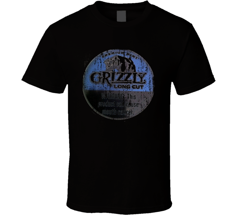 Grizzly Long Cut Natural Chewing Tobacco Worn Look Cool Gift T Shirt