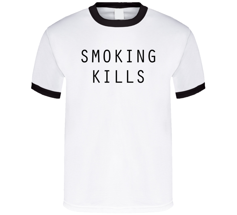 Smoking Kills Worn by Malia Obama Cool Faded Look Political Ringer T Shirt