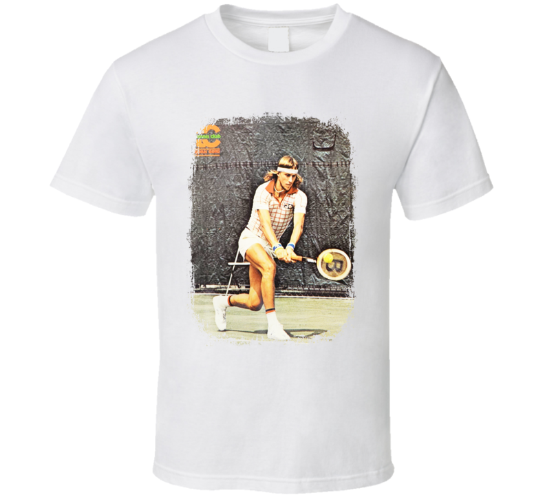 Bjorn Borg Tennis Celebrity Tribute Poster Worn Look Sports T Shirt