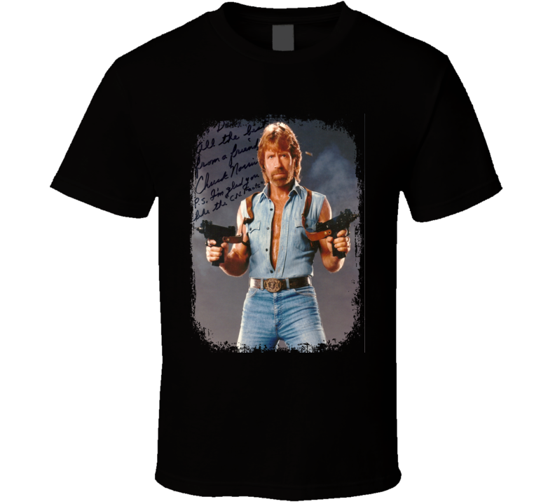 Chuck Norris Actor Autographed Tribute Poster Worn Look Movie T Shirt