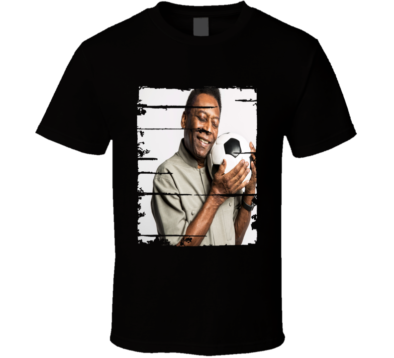 Pele Soccer Celebrity Tribute Poster Worn Look Sports T Shirt