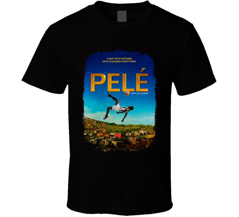 Pele Soccer Celebrity Tribute Movie Poster Worn Look Sports T Shirt