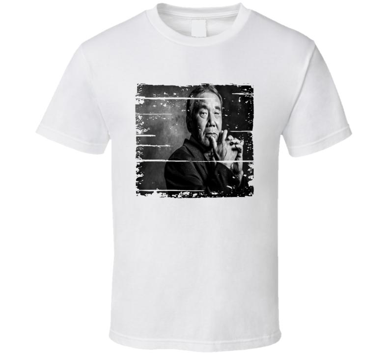 Haruki Murakami Author Tribute Poster Worn Look Cool Writers T Shirt
