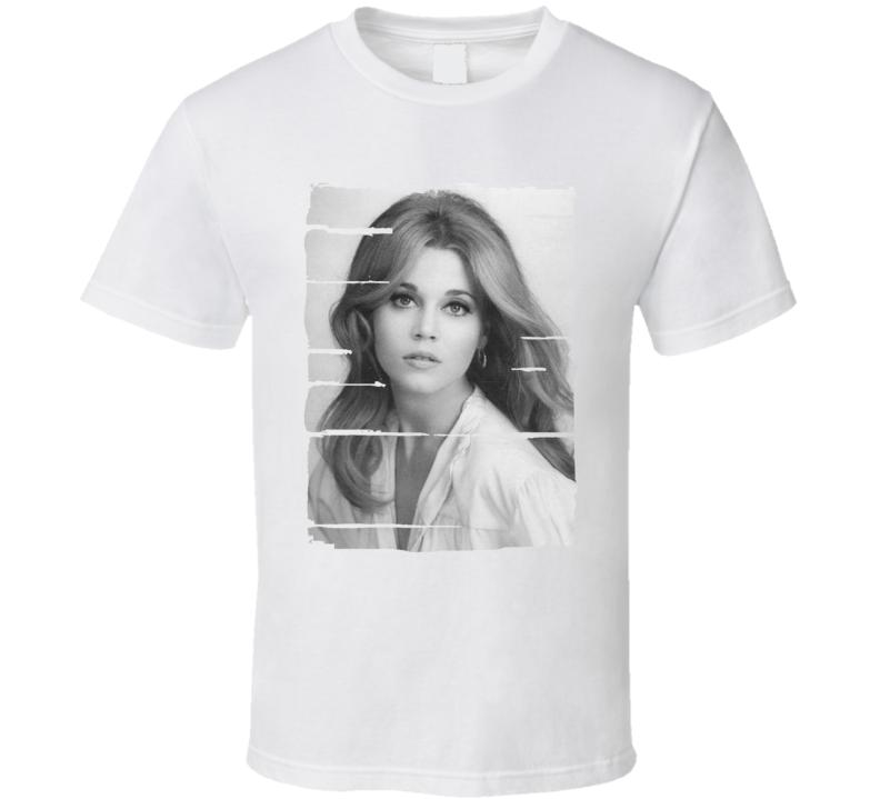 Jane Fonda Actress Celebrity Tribute Poster Worn Look Movie T Shirt