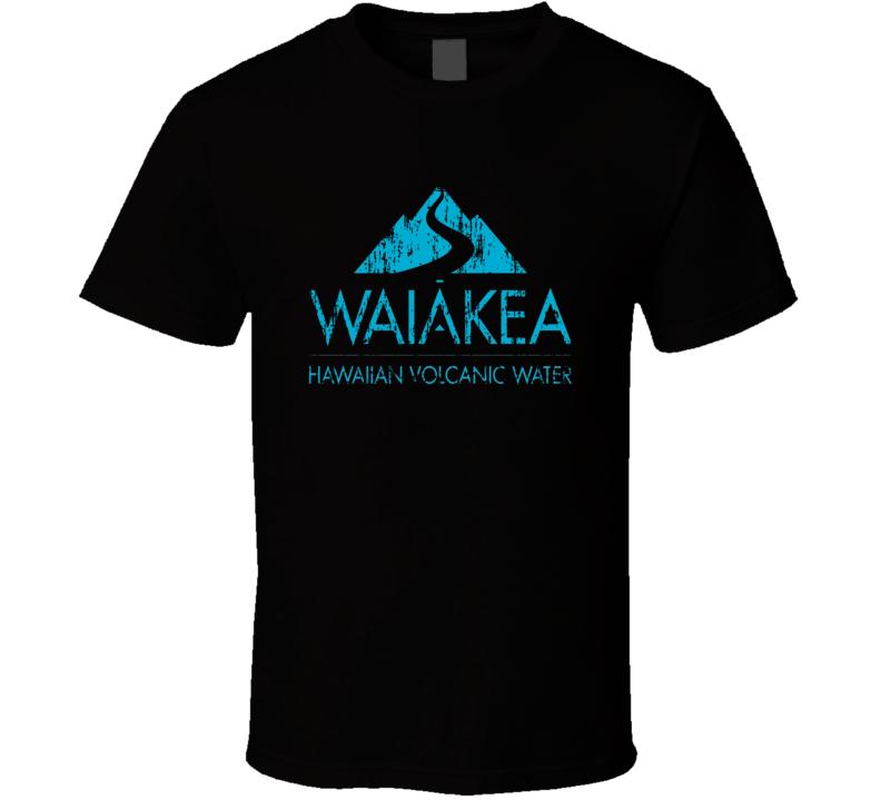 Waiakea Hawaiian Water Mineral Drink Worn Look Cool Beverage T Shirt
