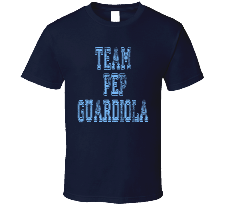 Team Pep Guardiola Manchester City Football Worn Look Sports T Shirt