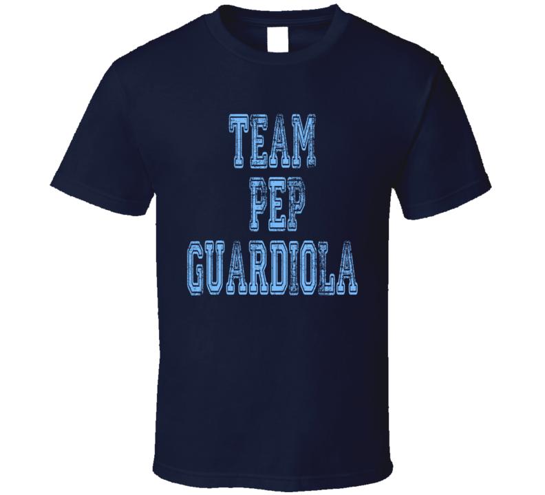 Team Pep Guardiola Manchester City Football Worn Look Sports T Shirt