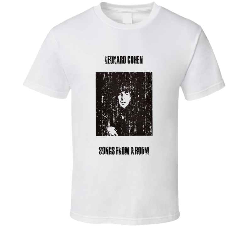 Leonard Cohen Songs From A Room Album Poster Worn Look Tribute T Shirt