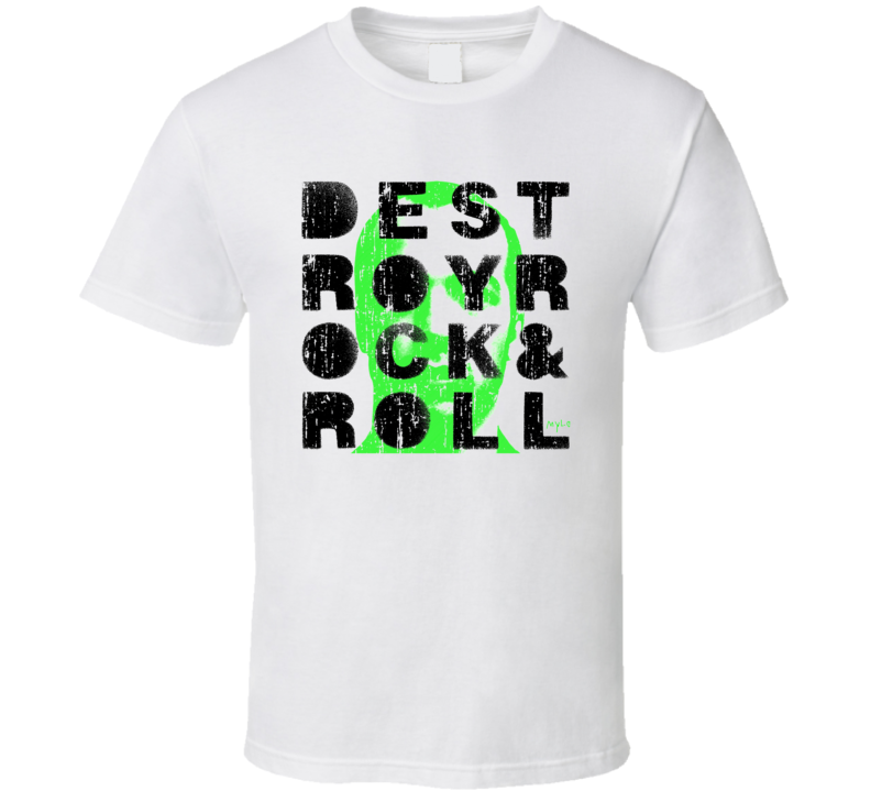Mylo Destroy Rock & Roll EDM Album Poster Worn Look Music T Shirt