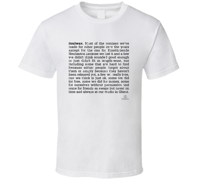 Soulwax Most Of The Remixes  Album Poster Worn Look Music T Shirt