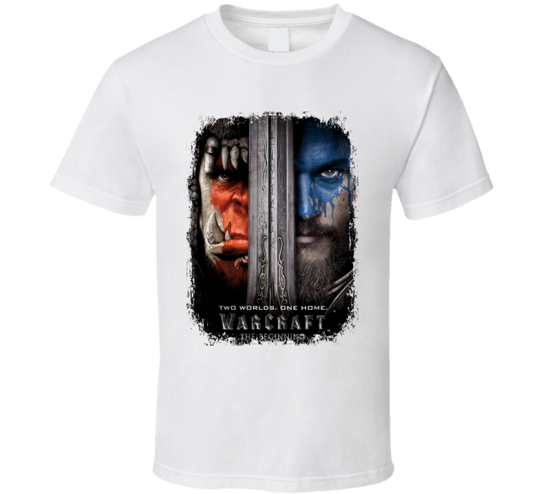 Warcraft Movie Poster Worn Look Cool Action Film Gift T Shirt