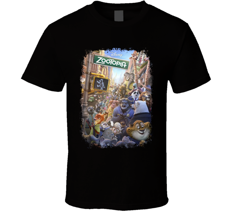 Zootopia Movie Poster Worn Look Cool Crime Film Gift T Shirt