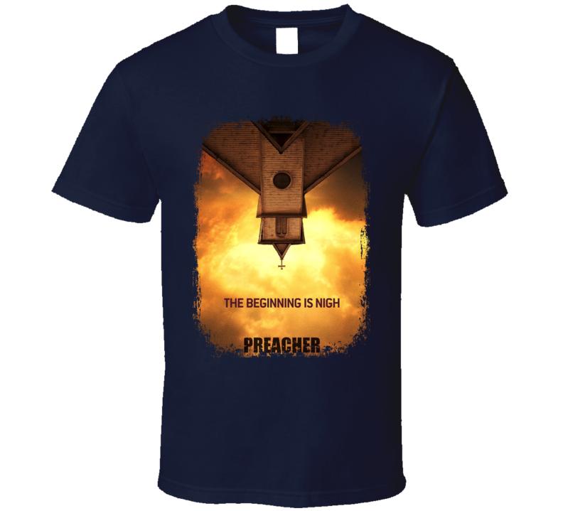 Preacher TV Show Poster Worn Look Cool Hip Gift T Shirt