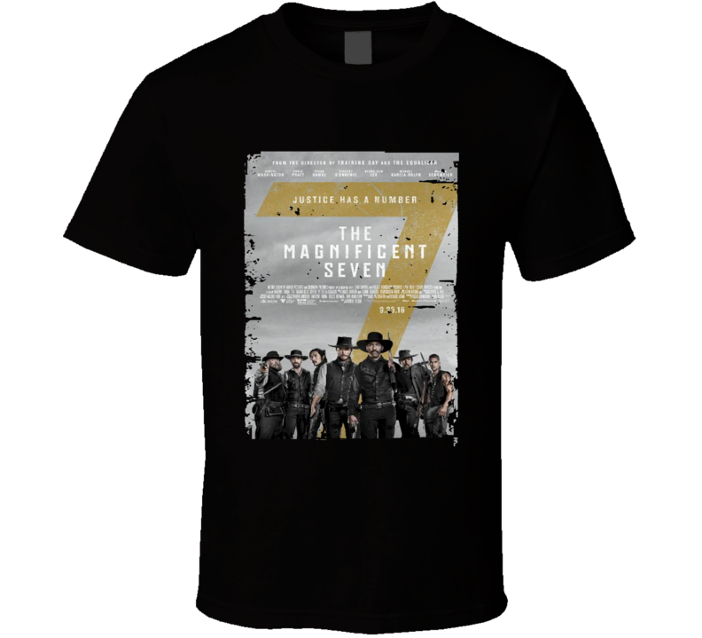 The Magnificent Seven Movie Poster Worn Look Cool  Film Gift T Shirt