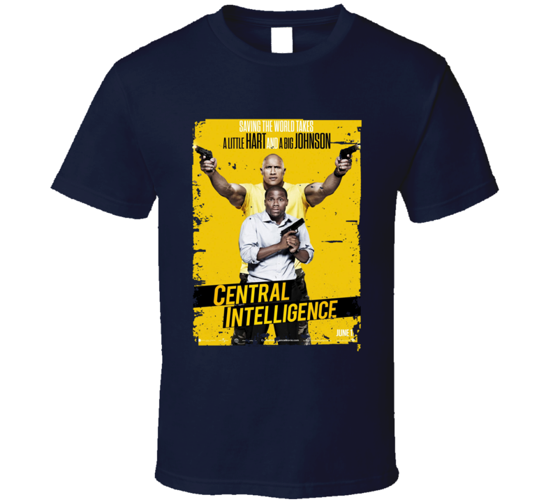 Central Intelligence Movie Poster Worn Look Cool  Film Gift T Shirt