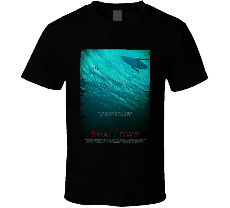 The Shallows Movie Poster Worn Look Cool Thriler Film Gift T Shirt