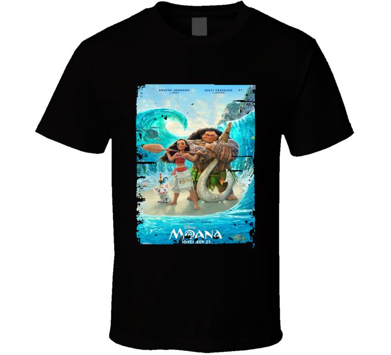 Moana Movie Poster Worn Look Cool Disney Film Gift T Shirt