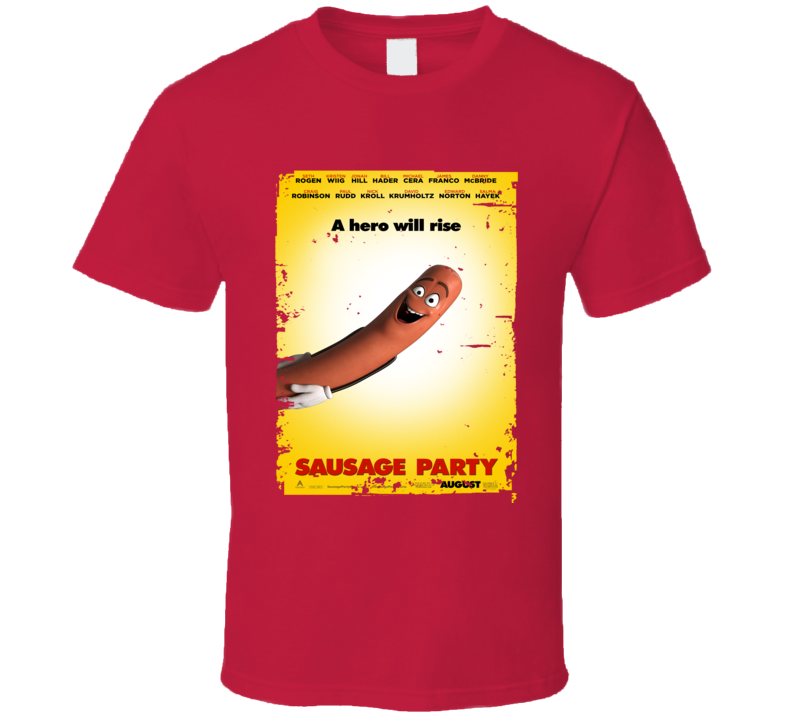 Sausage Party Movie Poster Worn Look Cool Comedy Film Gift T Shirt