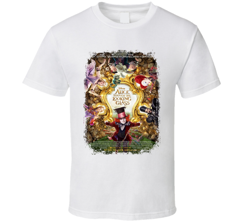 Alice Through The Looking Glass Movie Poster Worn Look Cool  Film Gift T Shirt