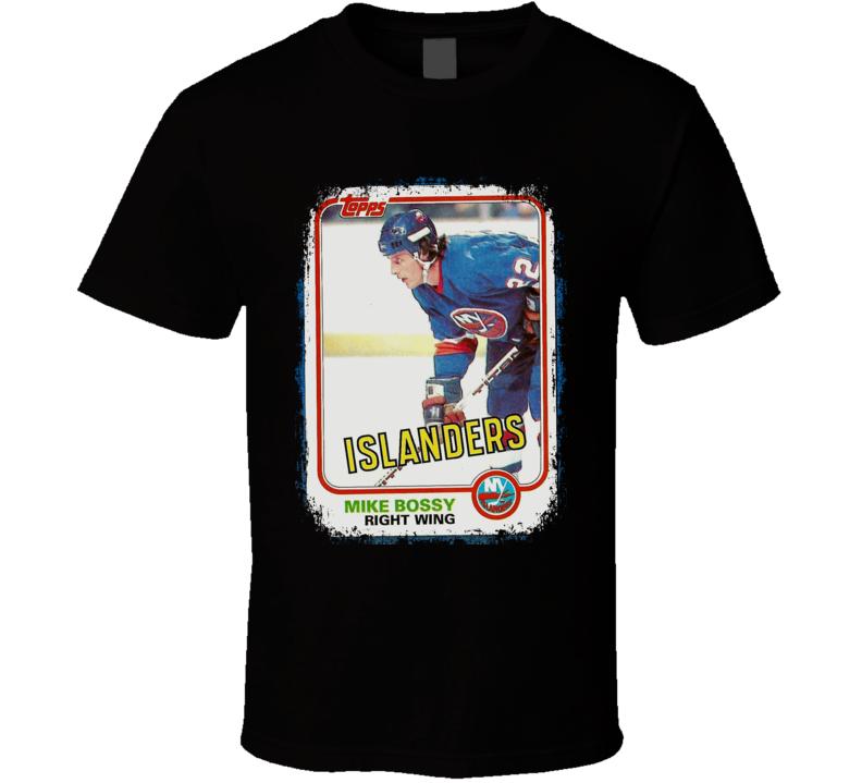 1981-82 Mike Bossy Vintage Hockey Trading Card Worn Look T Shirt