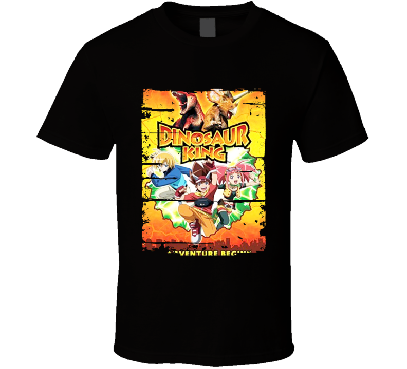 Dinosaur King Anime Battle Card Worn Look Cool Geek T Shirt