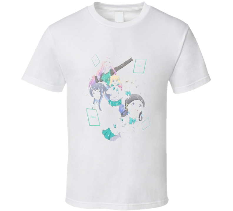 Watashitachi Luck Logic Bu 2 Anime Battle Card Worn Look T Shirt