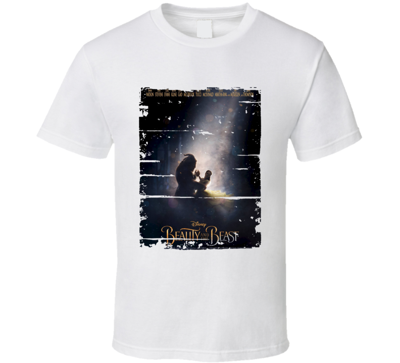 Beauty And The Beast Poster Cool Film Worn Look Movie Fan Gift T Shirt