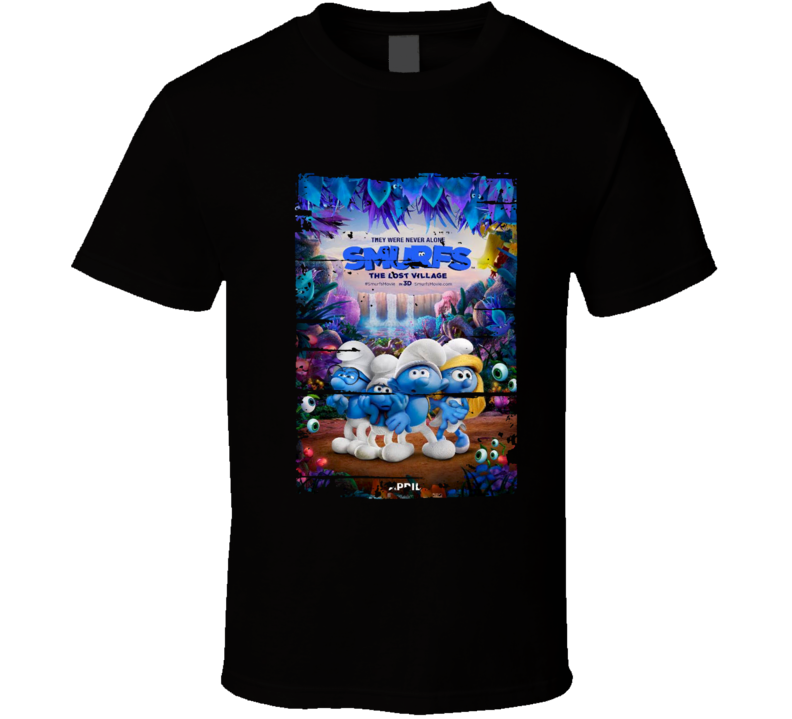 Smurfs The Lost Village Poster Cool  Film Worn Look Movie Fan T Shirt