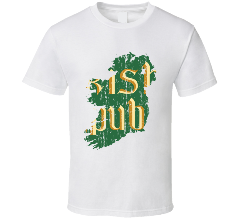 Irish Pub St Patricks Day Worn Look Green Map Cool Green T Shirt