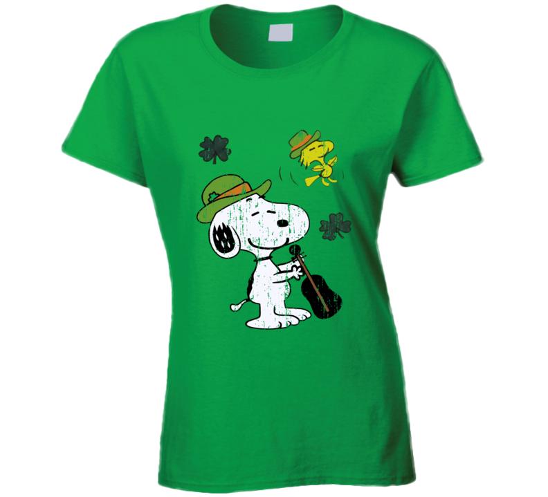 St Patricks Day Funny Peanut Green Worn Look Cool Irish Ladies T Shirt