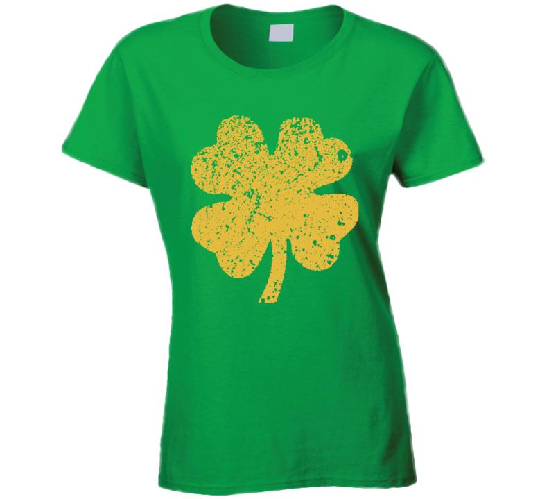 Shamrock Symbol Worn Look Cool St Patricks Day Green Ladies T Shirt