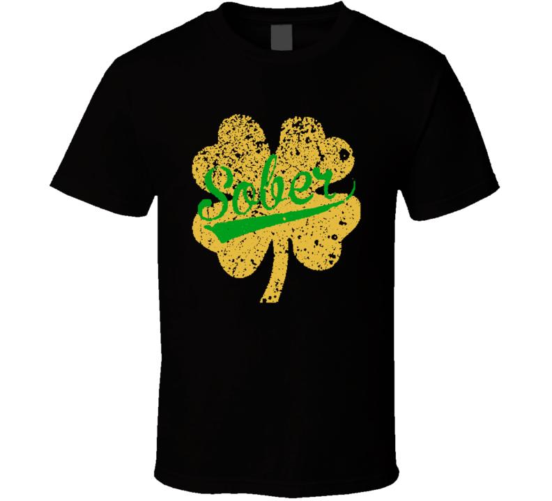 Shamrock Symbol Sober  Worn Look Cool St Patricks Day Irish T Shirt