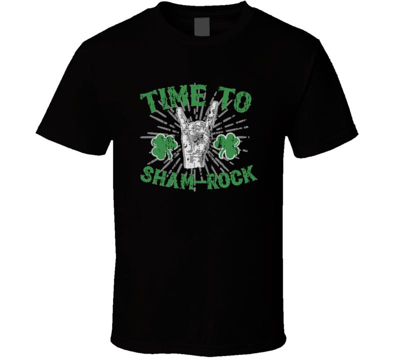 Time to Sham Rock Funny Worn Look Beer Lover St Patricks Irish T Shirt